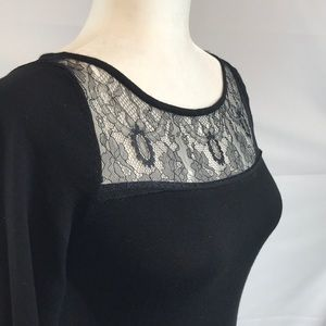 White House Black Market Tops - WHBM- Black top, 3/4 sleeve, lace detail, XS